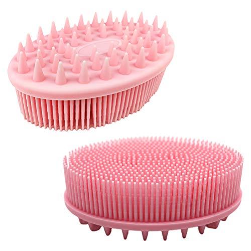 Yooyg Baño de silicona 2 en 1, exfoliante de silicona para el cuerpo húmedo, masaje espumoso ducha de espuma para limpieza de pelo de mascotas, herramienta multifuncional