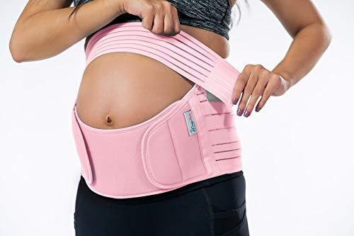 Belly Band for Pregnancy, Pregnancy Belt - Maternity Belt for Back Pain. Prenatal - Pregnancy Support Belt with Adjustable/Breathable Material. Back Support for Pregnant Women. Baby Pink Color/Size M