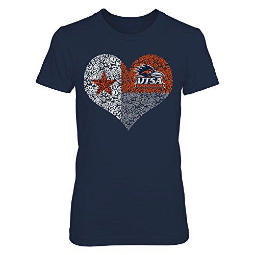 FanPrint UTSA Roadrunners T-Shirt - Texas Flag Heart - Women