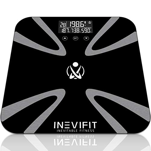 INEVIFIT Body Fat Scale Highly Accurate Digital Bathroom Body Composition Analyzer Measures Weight Body Fat Water Muscle BMI Visceral Levels amp Bone Mass for 10 Users 5Year Warranty Black