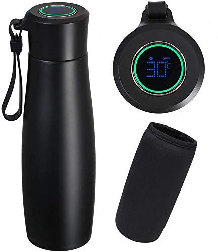 Flintronic Taza termo, Pantalla tactil LCD con indicador de temperatura Taza de Viaje, 400ML Vacuum Cup Travel Mug Con funcion de recordatorio, Frasco de Vacio de Acero Inoxidable 304, Negro