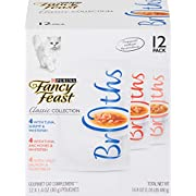Purina Fancy Feast Wet Cat Food Complement Variety Pack, Broths Classic Collection - (12) 1.4 oz. Pouches