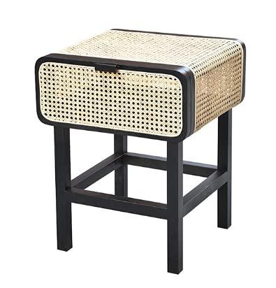 KAIBINY YY Norea del Sur de la Corea del Sur Ratan Solid Wood Standstand Rattan Nightstand Mesa Simple Retro Gabinete (Color : 3)
