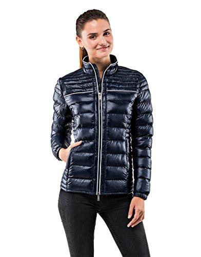 Vincenzo Boretti Damen Steppjacke Slim-fit tailliert Übergangs-Jacke leicht dünn weich warm gefüttert für Frühling Herbst modern elegant - EIN Style für Business und Freizeit dunkelblau M