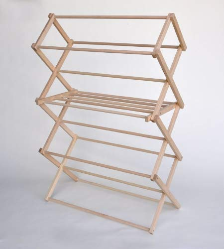 Medium Wooden Clothes Drying Rack-Folding, Heavy Duty, Free Standing-Portable Garment Laundry...