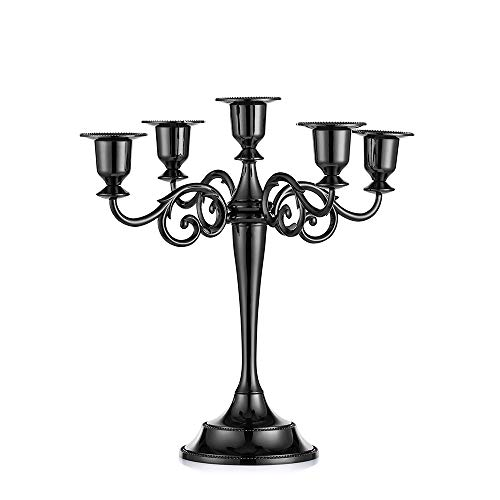 Sziqiqi Metal Candle Holder 5-arms Candle Stand 27cm Tall Wedding Event Candelabra Candle Stick (black)