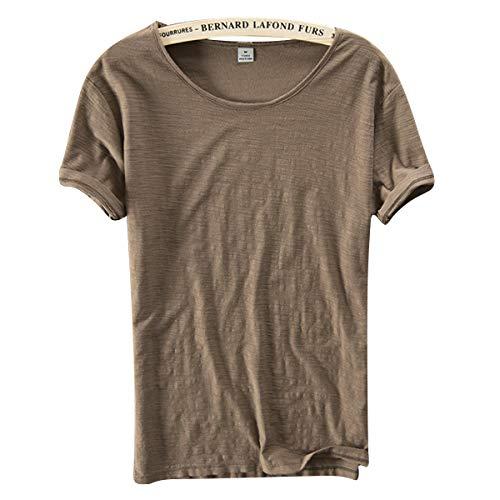 TENGGO Sección Básica Madura Hombres Color Sólido Tops 8 Colores Verano Delgado Casual O-Cuello Camiseta De Manga Corta-Café-M