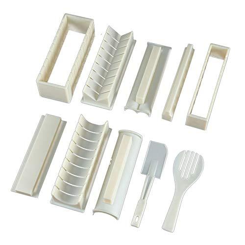 Syfinee Sushi Making Kit DIY Tool 10 Pcs DIY Sushi Maker Complete with Sushi Knife DIY Sushi Set Easy and Fun Sushi Rolls Heart Shape