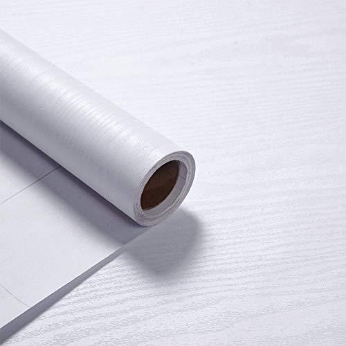 VEELIKE Papel Pintado Madera Blanco Vinilos Papel Pared Adhesivo para Muebles Autoadhesivo Impermeable Papel de Pared Adhesivo para Muebles 40cm x 300cm