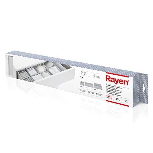 Rayen - Organizador de cajones plegable compuesto por 6 cajas de ordenación de ropa en diferentes tamaños. 2 cajas 14 x 14 x 10cm, 2 cajas 14 x 28 x 10 y 2 cajas 28 x 28 x 10. Gris Claro