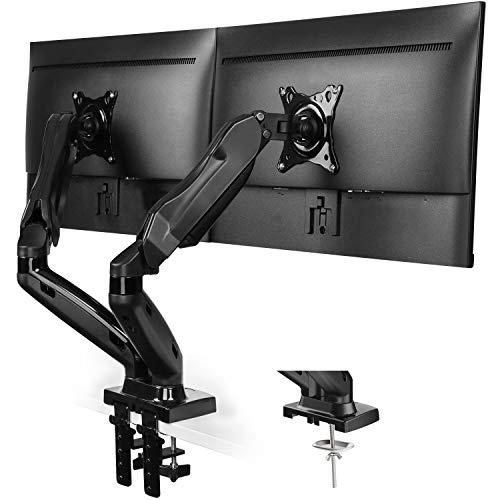 HUANUO Monitor Halterung 2 Monitore, Gasdruckfeder Arm 360° Drehbar für 13 bis 27 Zoll Bildschirme, 2 Montageoptionen, VESA 75/100