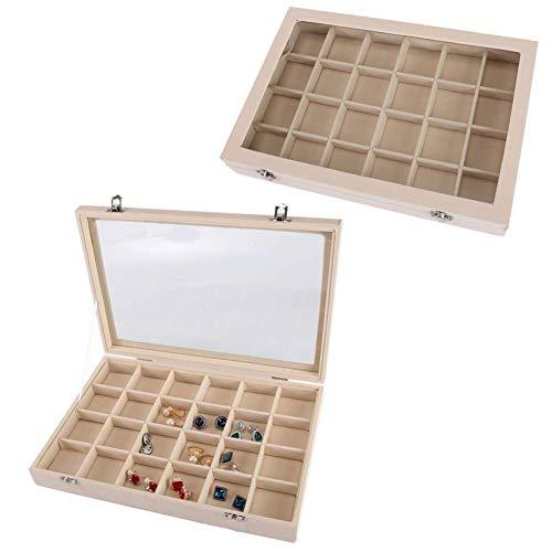 Caja de anillo Organizador de joyas Caja de joyería multifunción Cajas de joyería de vidrio Caja de exhibición de almacenamiento de pendientes de doble hebilla Bonitas cajas de almacenamiento de 24