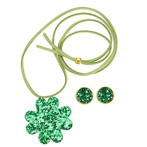 Amosfun St Patricks Day Ear Studs Necklace Set Green Glitter Necklace Earrings Party Festival Ear Jewelry For Women Girls Green 1