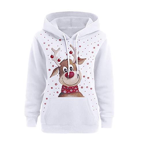 Zaima Hombres Mujeres Sudaderas Invierno Lovely Moose 3D Sudadera con Capucha Navidad Sudaderas Ropa Unisex Parejas SuéTer con Capucha Tops Sueltos De Alce