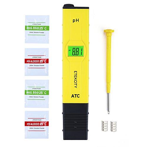 Etekcity 0.05pH Haute Précision pH-Mètre avec ATC et LCD Rétroéclairé, Notice Détaillée en Français, Résolution 0,01pH, Testeur pH Numérique Portable, Jaune