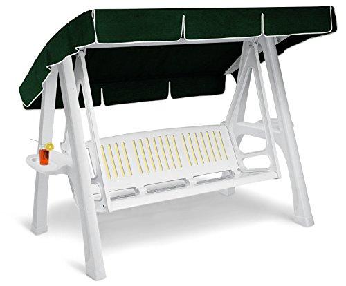 ARREDinITALY - Hollywoodschaukel 3-Sitzer aus Technopolymer weiß und Dach Stoff grün - 100% Made in Italy