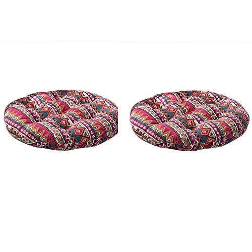 DadaA 2 Cojines Redondos Acolchados para Asiento de Silla, para Interior y Exterior, jardín, Patio, Cocina y sillas de Oficina