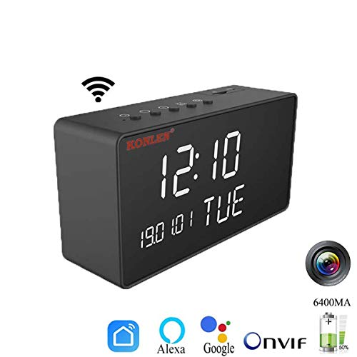 XJYA HD 1080P WiFi Mini Camara Despertador Tuya Smart Vida Cámara IP Niñera Batería de la Leva Mesa Despertador Videocámara Inalámbrico Vision Nocturna Alexa Google,AddAlexaBattery