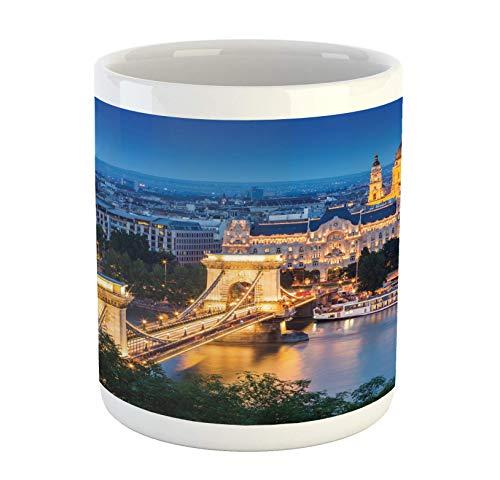 N\A Taza Europea, histórico Puente Viejo en Budapest, Cultura Tradicional Europea, Ciudad Vieja Urbana, Taza de café de cerámica para Bebidas de té de Agua, 11 oz, Azul Naranja