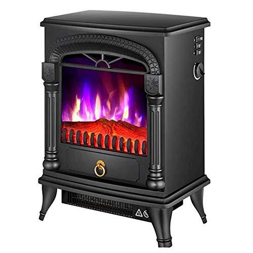 Dongbin Freistehende Elektrische Kamine 2000W Indoor View Log Wood Burning Tricolor Flammeneffekt Tragbarer Kamin-Ofen,Schwarz