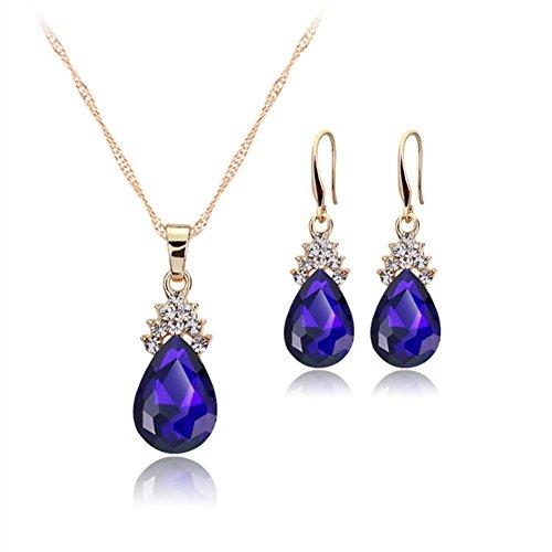 Treestar Europa stati goccia di cristallo collana ciondolo orecchini gioielli collana da donna elegante set 1PCS rosso , Lega, Blue, 1 * 2.6cm