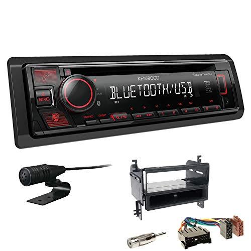 Kenwood KDC-BT440U 1-DIN Autoradio Bluetooth CD USB AUX Einbauset passend für Hyundai Tucson 2005-2010 schwarz