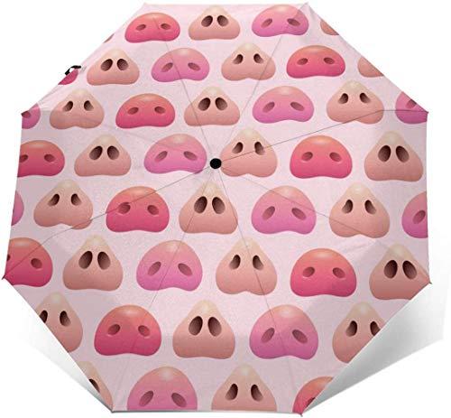 Schwein Nase Automatik Dreifach Faltbarer Regenschirm Sonnenschirm Sonnenschutz Außen Druck