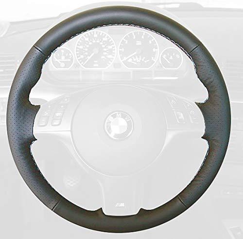 RedlineGoods Cubierta del Volante (M3) Compatible con BMW 3-Series E46 1999-04 Alcantara Negra Costura Plata
