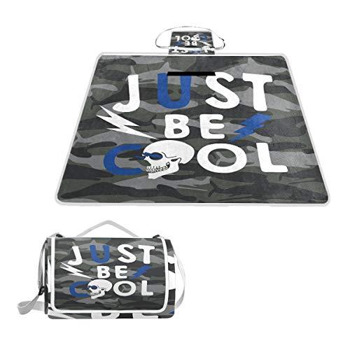 XINGAKA Manta de Picnic Impermeable,Just Be Cool tipografía de Patrones sin Fisuras,Alfombra Plegable para Camping Parque