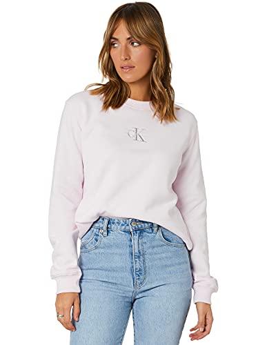 Calvin Klein Jeans Damen Monogram Logo Crew Neck Pullover, Perlrosa/Quiet Grey, S