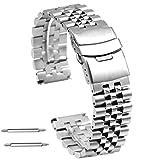 Kai Tian Cinturino Orologio in acciaio inossidabile 3D 20mm Cinturino argento Bracciale orologio in metallo spazzolato per uomo donna Doppie chiusure Diver Clasp