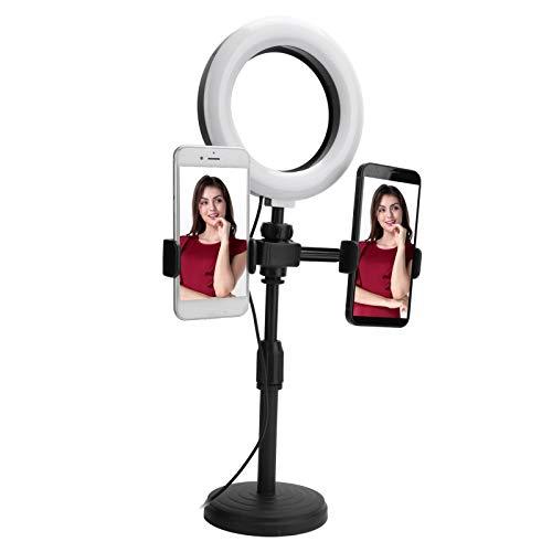 Anillo de luz LED para Selfies de 6 Pulgadas, Soporte de Clips de 2 Piezas para teléfono móvil con Soporte de luz de Relleno USB, Brillo Ajustable de 9 Niveles para fotografía en Vivo