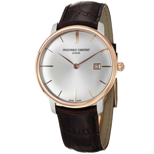 Frederique Constant Men's FC-306V4STZ9 Slim Line Brown Leather Strap Watch