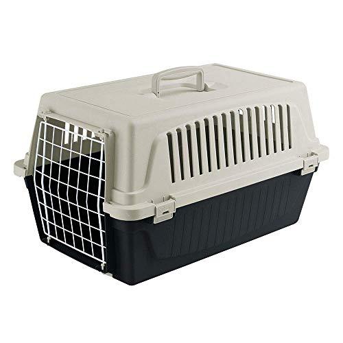 Ferplast Transportín rígido para Perros de Talla pequeña y Gatos Atlas 20 EL, Caja de Transporte para Animales, Puerta de Acero plastificado, Rejillas de ventilación, 37 x 58 x h 32 cm Negro