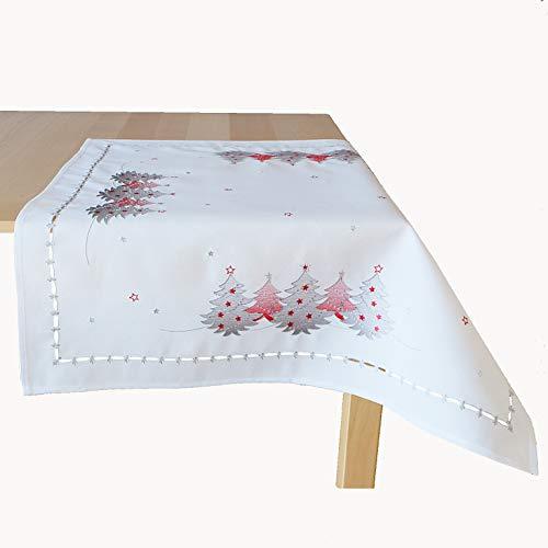 Raebel OHG - Mantel bordado con árboles de Navidad (85 x 85 cm), color blanco