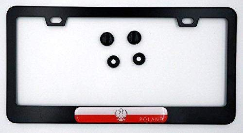 Poland Polska Polish Flag Metal Black Aluminium Car License Plate Frame Holder