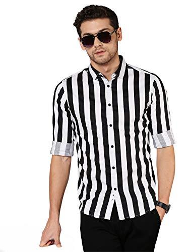 Dennis Lingo Men's Striped Slim Fit Cotton Casual Shirt