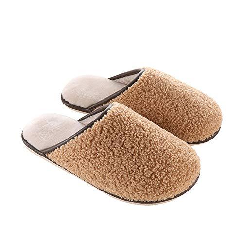 XZDNYDHGX Memory Foam Comfortable Flax Shoes,Winter Women's Plush Slippers, Furry Slipper Warm Ladies Soft Indoor Flats Shoes Camel UK 5-5.5