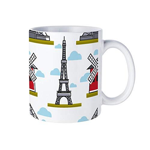 Wendana Eiffeltoren En Moulin Rouge Naadloos Patroon Grappige Witte Koffie Mok Nieuwigheid Kerstmis Mok Keramische Theekop Mok 11 Oz voor Vrouwen, Mannen, Mama, Papa