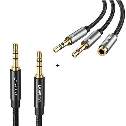 Bundle UGREEN Headphone Splitter for Computer 3.5mm Female to 2 Dual 3.5mm Male Headphone Mic Audio with 3.5mm 3.5mm Adudio Cable Male to Male