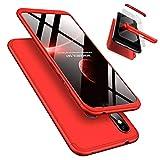 Funda Xiaomi Redmi Note 6 Pro 360°Caja Caso + Vidrio Templado Laixin 3 in 1 Carcasa Todo Incluido Anti-Scratch Protectora de teléfono Case Cover para Xiaomi Redmi Note 6 Pro (Rojo)