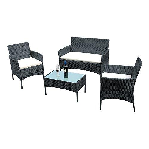 Panana Songtree - Conjuntos de Mesa y 3 Sillas Madera Ratán Mimbre para Jardín al Aire Libre Terraza Patio Restaurante Cafetería Color Negro