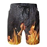 Jreergy Flaming Charcoal Grill with Fire Beach Shorts for Men Quick Dry Mens Surf Swimming Trunks