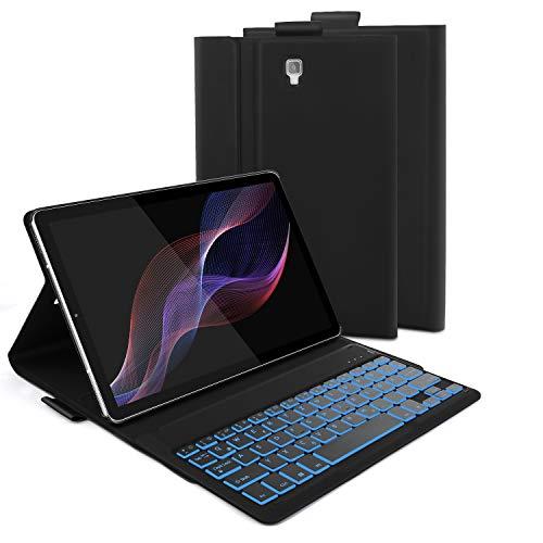 Jelly Comb Samsung Galaxy Tab S4 10.5 Tastatur Hülle, Bluetooth Beleuchtete Tastatur mit Schützhülle für Samsung Galaxy Tab S4 10.5 Zoll T830/T835, QWERTZ Deutsches Layout mit 7-farbige Beleuchtung