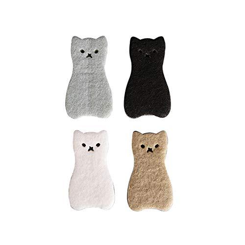 Laiashley Cojín de limpieza de doble cara, esponja con forma de gato, esponja de 3 capas, fuerte absorción de agua, esponja para lavavajillas, herramienta de limpieza de cocina