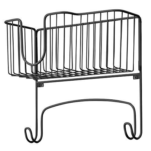 mDesign Wall Mounted Ironing Board Holder - Steel Ironing Board Rack for Easy Organisation - Includes Basket for Iron Storage - Matte Black
