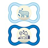 MAM Air Night Pacifiers (2 pack, 1 Sterilizing Pacifier Case), MAM Sensitive Skin Pacifier 6+ Months, Glow in the Dark Pacifier, Best Pacifier for Breastfed Babies, Baby Boy Pacifiers