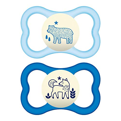 MAM Air Night Pacifiers (2 pack, 1 Sterilizing Pacifier Case), MAM Sensitive Skin Pacifier 6+ Months for Baby Boy, Glow in the Dark Pacifier, Baby Pacifiers