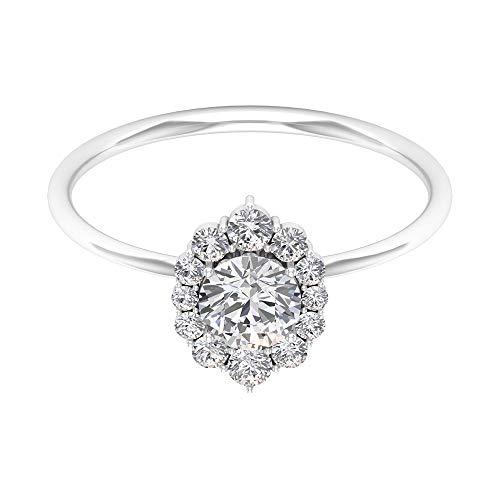 Anillo solitario de diamante de 1 quilates con halo, anillos modernos para mujer (calidad AAA), oro blanco, moissanite, tamaño: UK O1/2