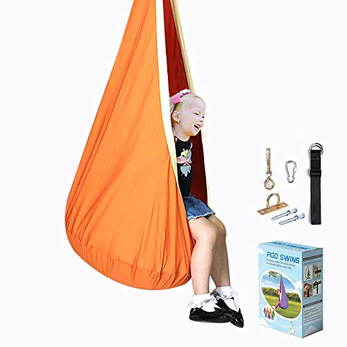 La fete Pod Chair Kids Swing Seat 100% Cotton Child Hammock Chair Hanging Seat Nest with Two Handles for Indoor and Outdoor, All Accessories Included (Orange)